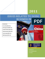 Issues Related to Doing Business in China Report