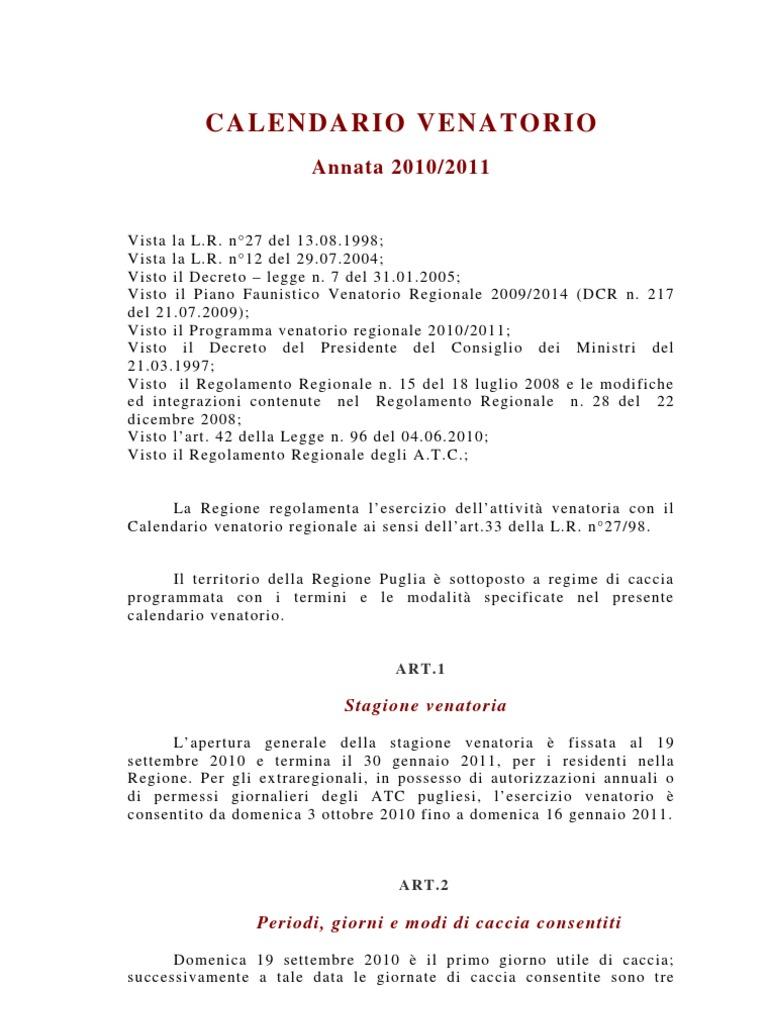 Regione Puglia Calendario Venatorio.Calendario Venatorio Puglia 2010 2011