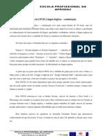 Reflexão da UFCD, Língua Inglesa – continuação