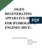 Hydrogen Regenerating Apparatus