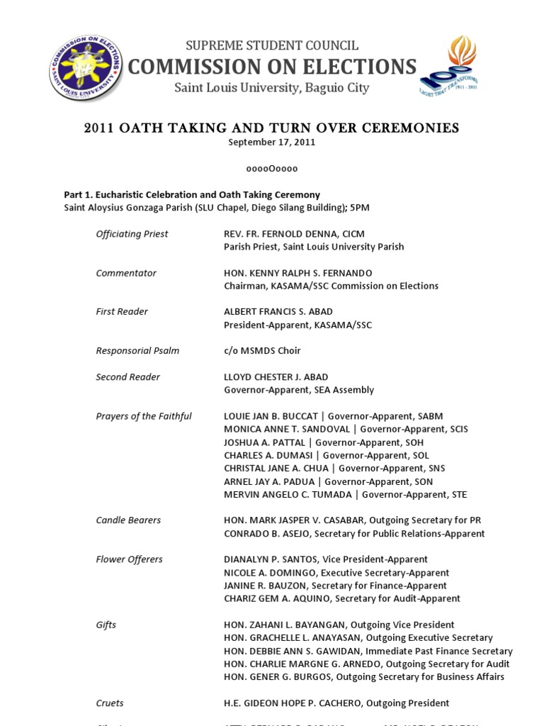 Oath Taking And Turn Over Ceremonies Program | Elections  Oath Of Office Template