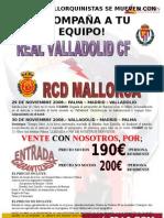 Viatge per al partit Valladolid - Mallorca