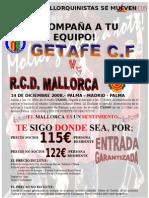 Viatge per al partit Getafe - Mallorca