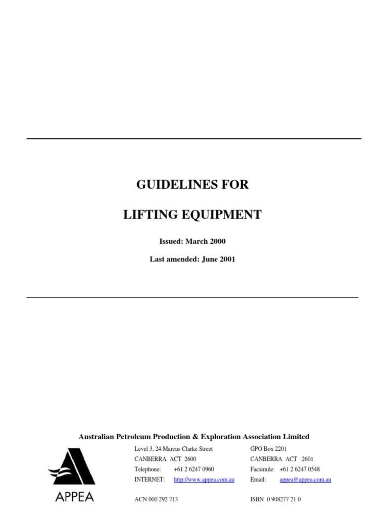 APPEA Guidelines for Liting Equipment Combined)   Crane (Machine