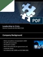 Crisis Leadership - Steelhenge-D Cockram 2010