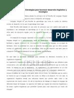Taller de Estrategias de Lenguaje para favorecer el desarrollo lingüístico y fonoalógico