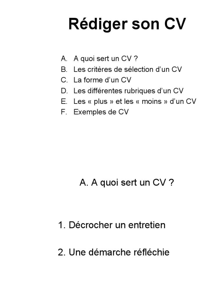 Cv Et Lettre De Motivation