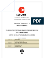 Escorts Optimization of Production