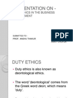 Duty Ethics in Business Environment