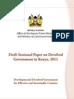Draft Sessional Paper on Devolved in Kenya, 2011