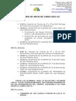 Calendario Inicio Curso 2011-12