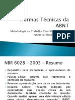 Normas Técnicas da ABNT - Resumo Ilton