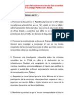 Plan de trabajo para la implementación de los acuerdos del VI Consejo Político del ALBA.