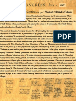 British Middle Colonies Declaration