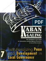 Institutionalizing Peace and Development in Local Governance