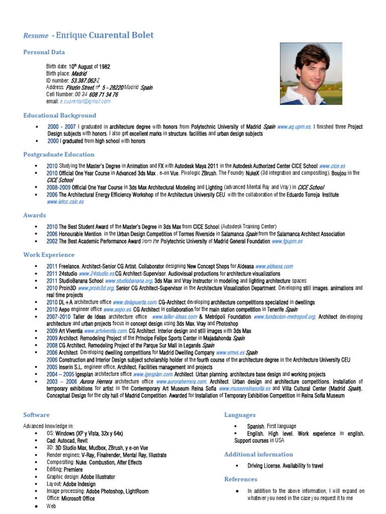 ECuarental Resume | Autodesk 3ds Max | Architect