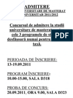 Admitere Studii Universitare Masterat