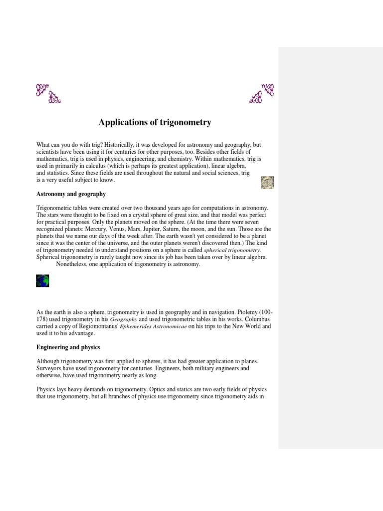 Applications of Trigonometry | Trigonometry | Fourier Transform