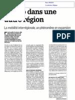 La mobilité interrégionale est tendance