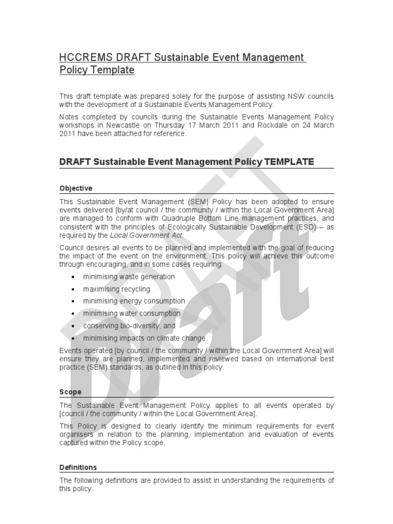 DRAFT Sustainable Event Management Policy Template | Sustainability ...