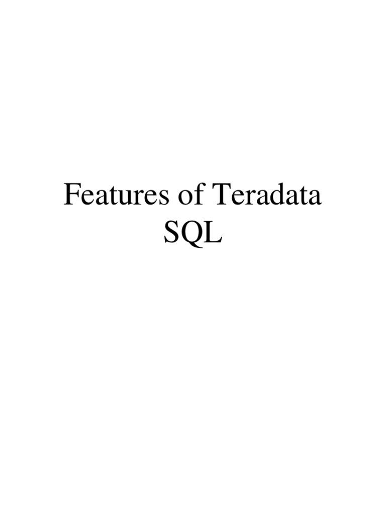 Teradata Sql Sql Database Index
