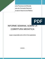 INFORME SEMANAL SOBRE LA COBERTURA MEDIÁTICA (Lapso comprendido entre el 04 al 10 de Septiembre) (1)