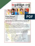 Press Release Music Studio 09.09.11
