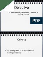 Audit Discharge Summary