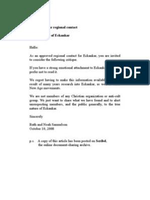 TO: Eckankar regional contact RE: Critique of Eckankar