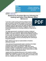 Declaração de Durão Barroso após reunião com Berlusconi, hoje