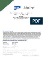 MetroPCS Samsung Admire User Manual