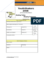 Youth Shakers 08 Registration Form