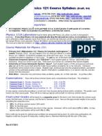 Fall 2011 Phys 121 Syllabus-Draft04