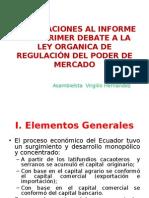 Observaciones al Informe Para Primer Debate a la Ley Organica de Regulacion de poder de mercado