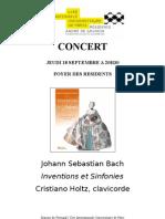 "Concert ""Inventions & Simfonies"", 18 octobre 2008"