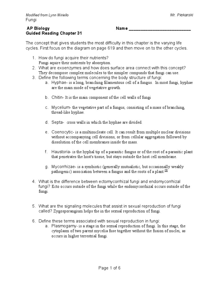 31 microorganism earth life sciences rh scribd com ap biology chapter 16 guided reading assignment answers ap biology guided reading answers chapter 3