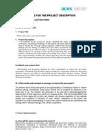 Aces Key Questions for the Project Description 2011