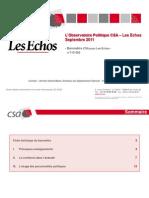 L'Observatoire politique CSA-Les Echos - Septembre 2011
