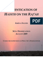 Authentication of Hadith on the Raj'ah (Keywords
