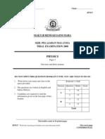 SPM Percubaan 2008 MRSM Physics Paper 3