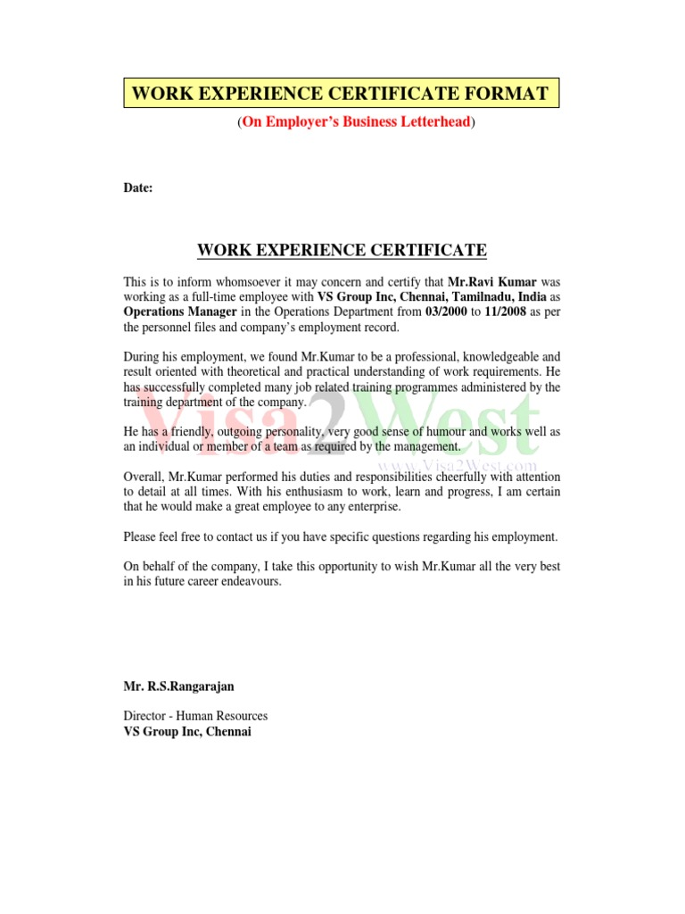 Work Experience Certificate  Employee Working Certificate Format