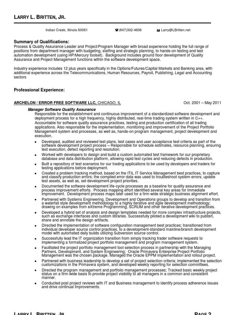 Software Quality Assurance Director in Chicago IL Resume Larry ...