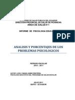 La PSICOLOGIA EDUCATIVA EN QUITO - ECUADOR INFORME AÑO ESCOLAR 2010-2011