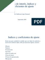 Indices y Coeficientes de Ajuste