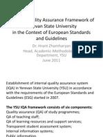 YSU Internal Quality Assurance Framework