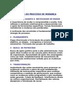 ETAPAS DO PROCESSO DE MUDANÇA
