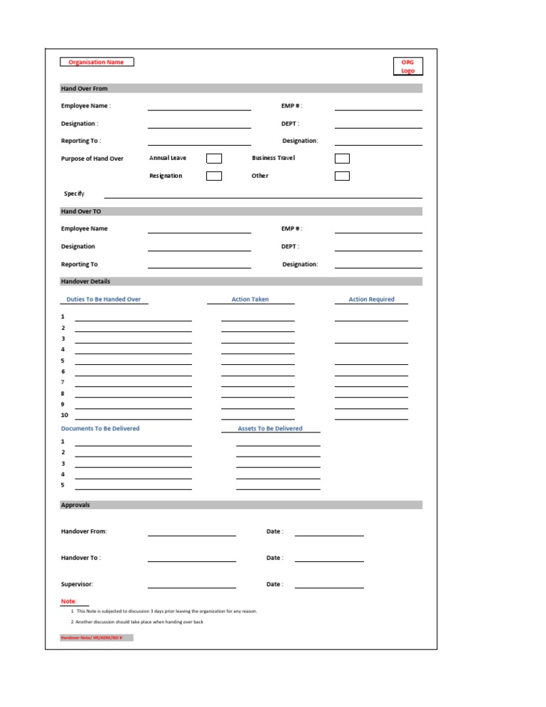Handover note form for Handing over notes template