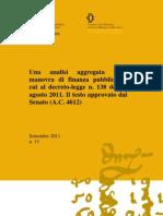 Testo analisi aggregata della manovra di finanza pubblica di cui al decreto-legge n. 138 del 13 agosto 2011 (A.C. 4612)