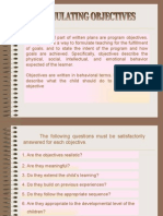 Teaching Strategies IV - Formulating Objectives