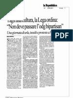 """Tagli alla cultura, la Lega ordina """"Non deve passare l'odg bipartisan"""" - Repubblica 15/09/2011"""